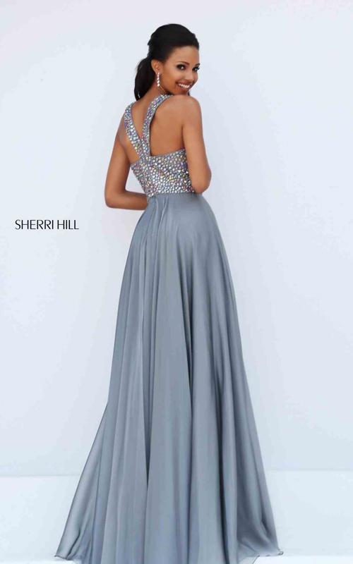Gunmetal Sherri Hill 50615 Designer Beads Chiffon Pageant Gown_1